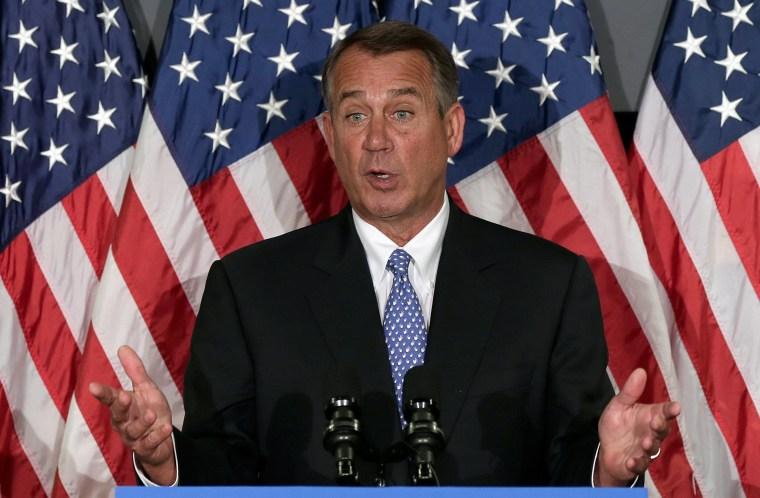 The empty hand of Speaker of the House John Boehner (R-OH), October 23, 2013.