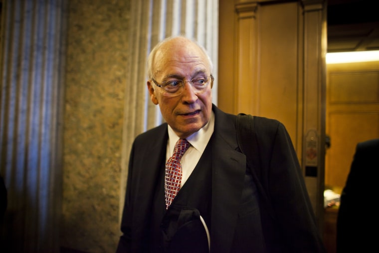 Former Vice President Dick Cheney walks out of a Republican Senate luncheon, Nov. 2011.