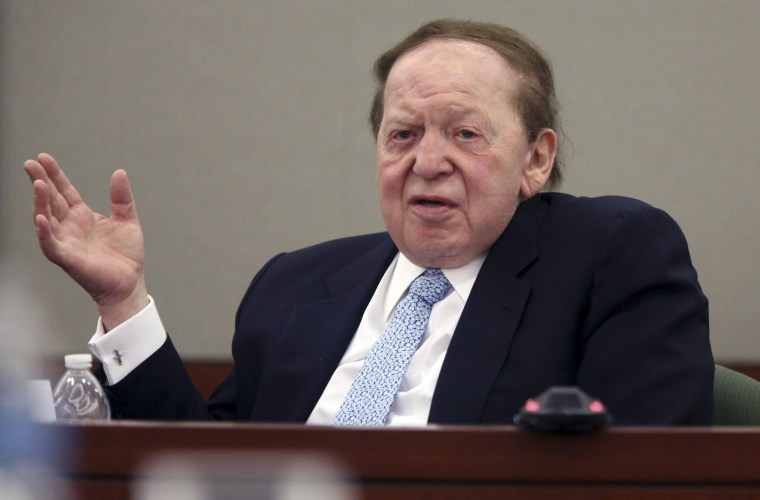 Las Vegas Sands Corp Chairman and Chief Executive Sheldon Adelson testifies on the witness stand at the Regional Justice Center in Las Vegas, Nevada in this April 4, 2013 file photo.