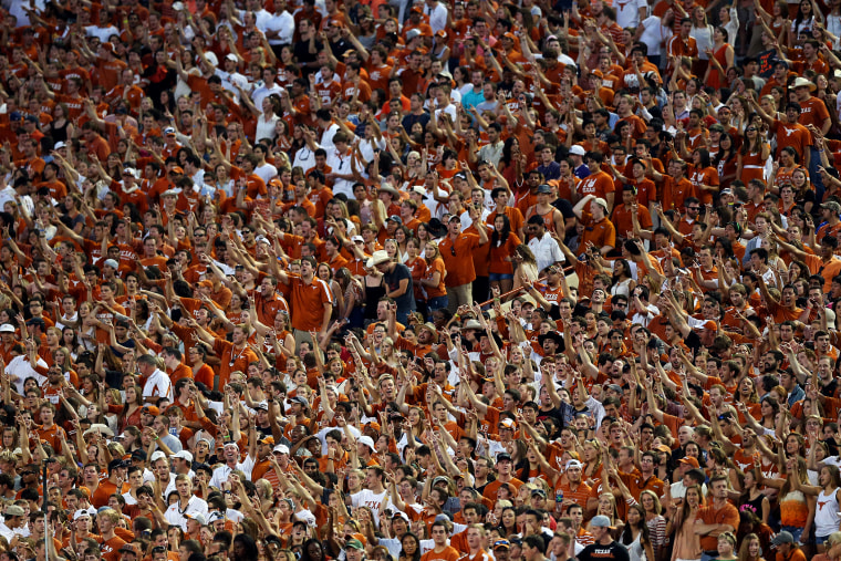 Texas Longhorns fans cheer during a game against the Kansas State Wildcats at Darrell K Royal-Texas Memorial Stadium on Sept. 21, 2013 in Austin, Texas.