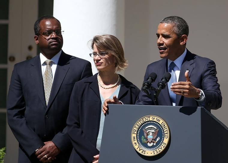 U.S. President Barack Obama speaks while nominating Cornelia Pillard, Patricia Millett and Robert Wilkins, to become federal judges.