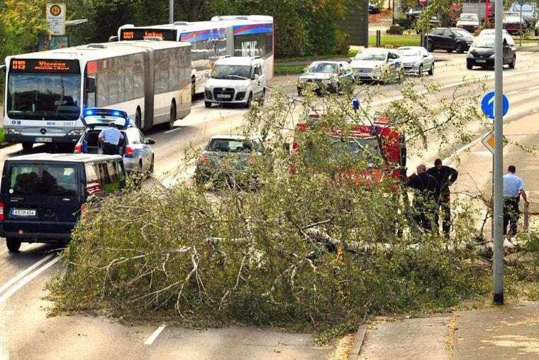 German emergency responders deal with a broken obstruction, October 28, 2013.