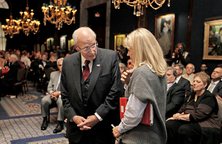 """Former Vice President Dick Cheney, speaks with his daughter Liz Cheney before discussing his memoir \""""In My Time\"""" on Sept. 19, 2011 in Chicago."""