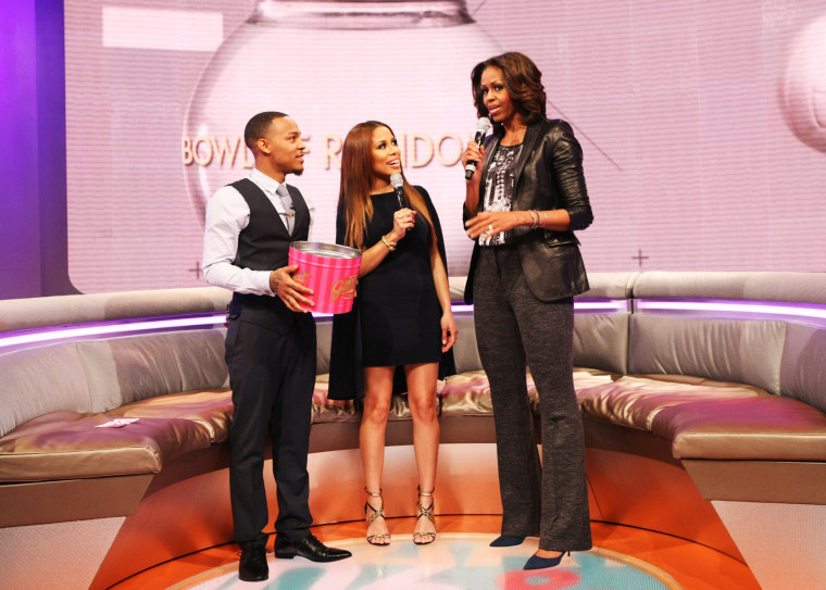 Bow Wow and Keshia Chante interview First Lady Michelle Obama at BET Studios, on Nov. 18, 2013.