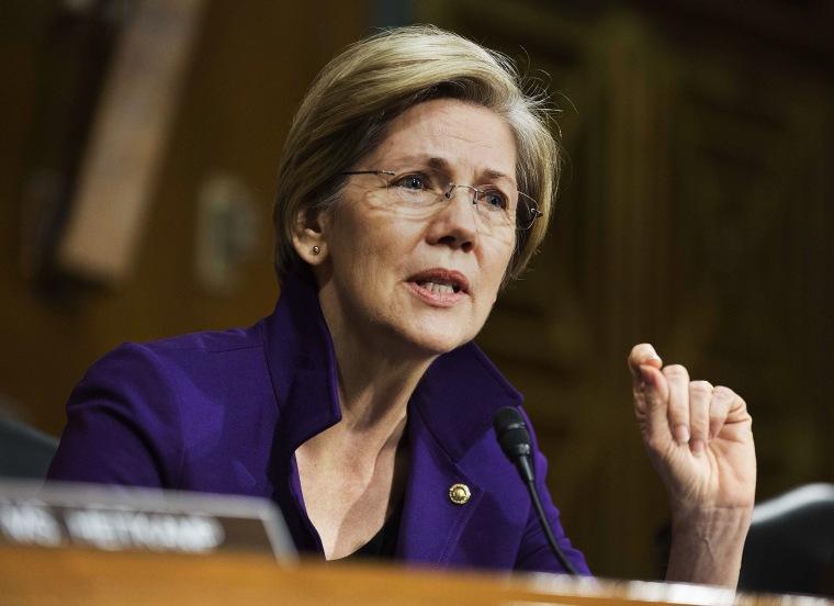Sen. Elizabeth Warren speaks during a Senate Banking Committee confirmation in Washington, Nov. 14, 2013.