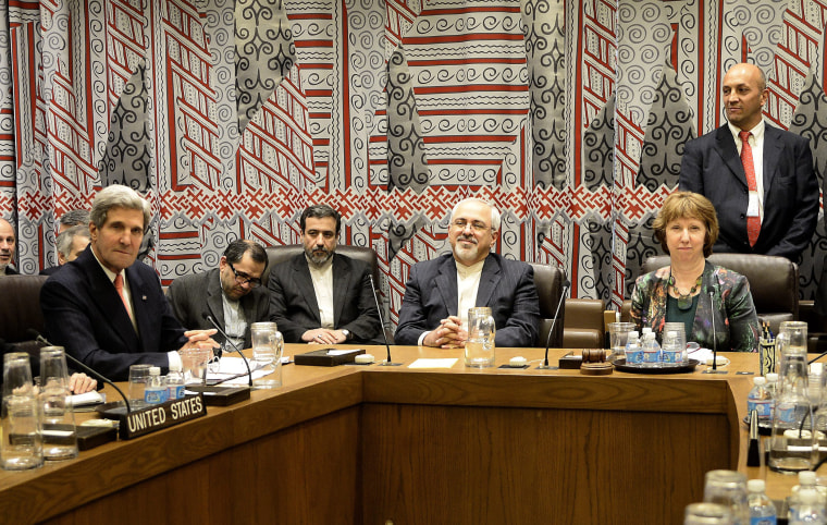 U.S. Secretary of State John Kerry (L), Foreign Minister of Iran Mohammad Javad Zarif (C) and EU High Representative for Foreign Affairs and Security Policy Catherine Ashton (R) during a meeting at the United Nations headquarters in New York City, Septemb
