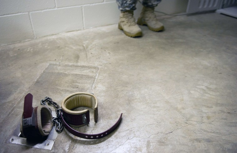 """The floor shackles within the solitary recreation room in Cell Block C in the """"Camp Five"""" detention facility of the Joint Detention Group at the US Naval Station in Guantanamo Bay, Cuba. (January 19, 2012 file photo)"""