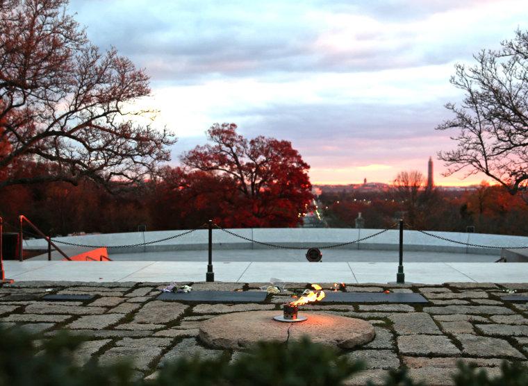 Eternal Flame Burns At JFK's Gravesite In Arlington National Cemetery