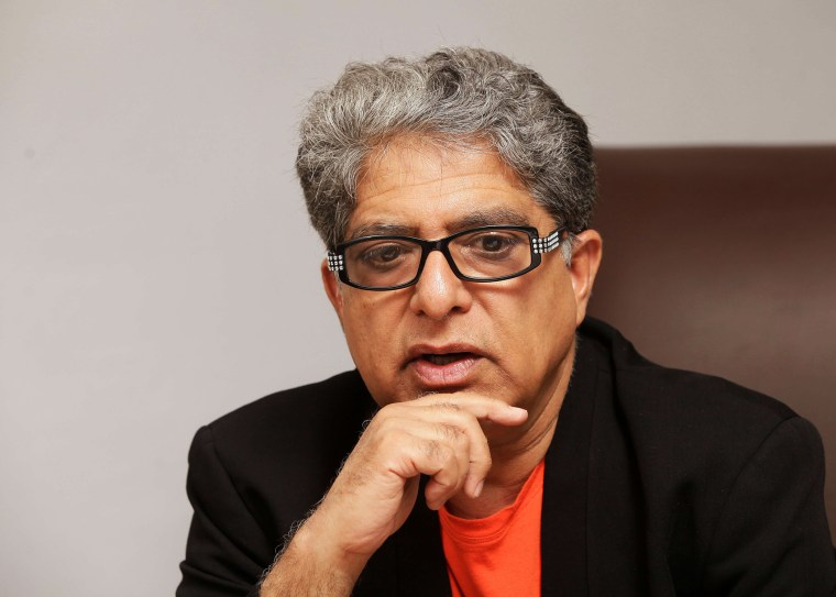 Deepak Chopra gestures during an interview in Bogota, Columbia, May 23, 2012.