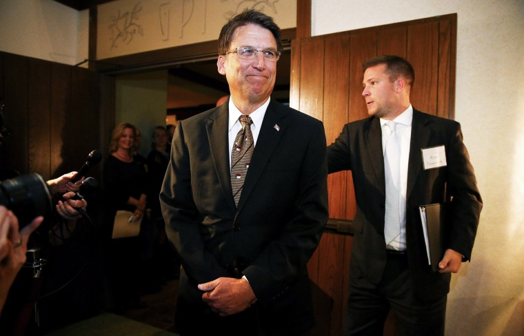 NC Governor Pat McCrory at a celebration in Asheville, Nov. 7, 2013.