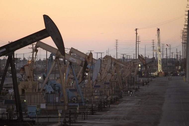 Oil rig pumpjacks, also known as thirsty birds, extract crude from the Wilmington Field oil deposits area near Long Beach, California in this July 30, 2013 file photo.