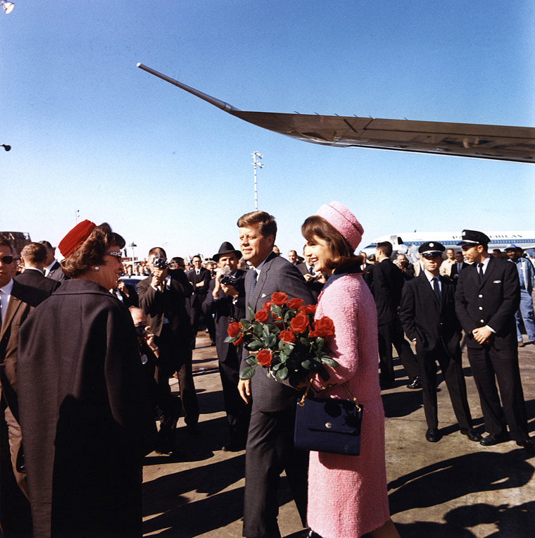 President and Mrs. Kennedy arrive at Love Field, Dallas, Texas, Nov. 22, 1963.