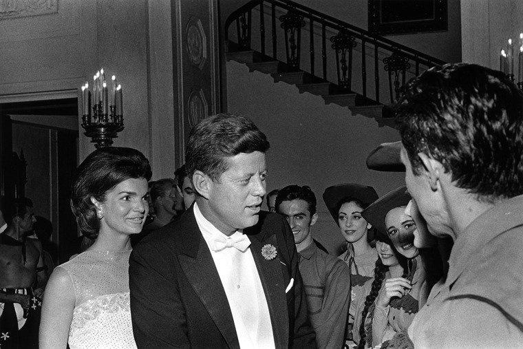 """The President and Mrs. Kennedy congratulate American Ballet Theatre cast of """"Billy The Kid"""", May, 1962."""