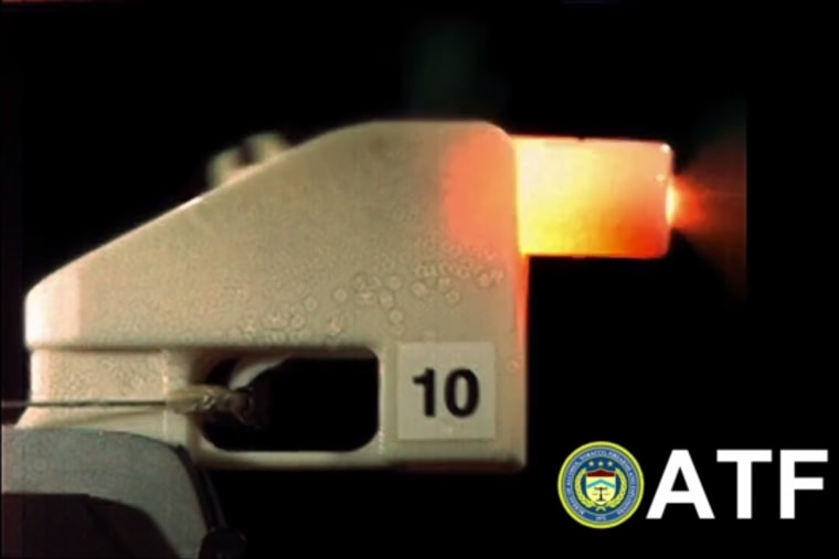 A frame from the U.S. Bureau of Alcohol, Tobacco, and Firearms' YouTube video of their 3D printed plastic gun being fired.