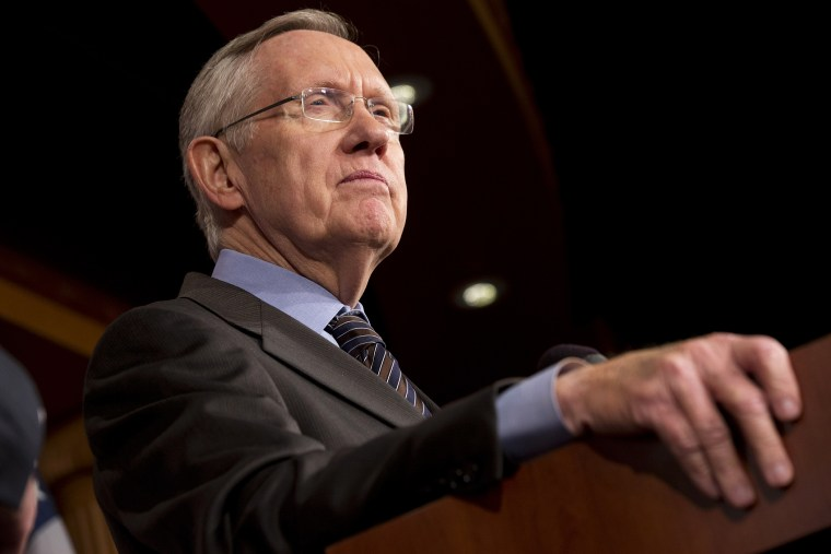 Senate Majority Leader Harry Reid (D-Nev.) pauses during a news conference on Capitol Hill in Washington on Nov. 21, 2013.