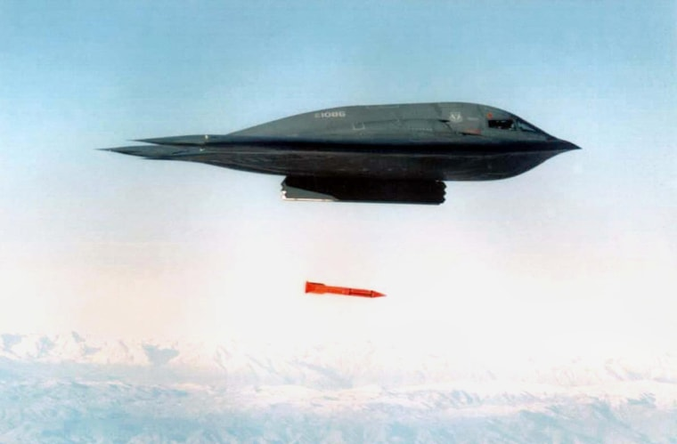 An undated file picture shows a B-2 Spirit Bomber dropping a B61-11 bomb casing from an undisclosed location.