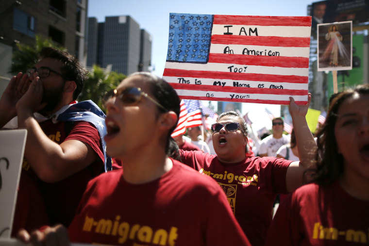 Protesters march to demand immigration reform in Hollywood, Los Angeles, Calif. on Oct. 5, 2013.