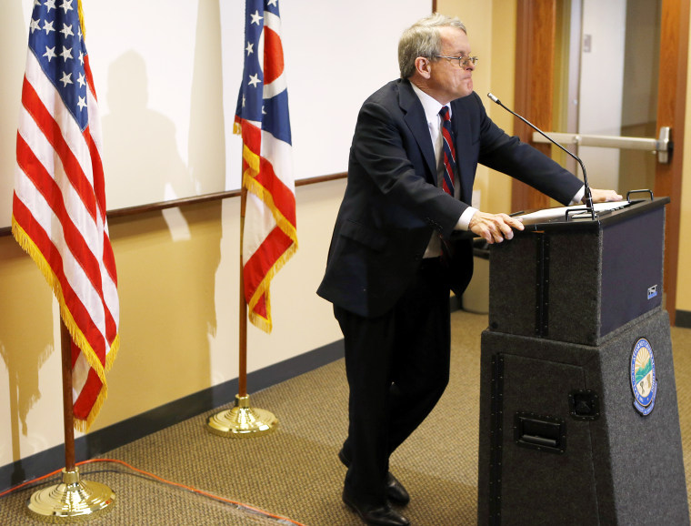 Ohio Attorney General Mike DeWine announces indictments against four additional people in the Steubenville rape case, Nov. 25, 2013.