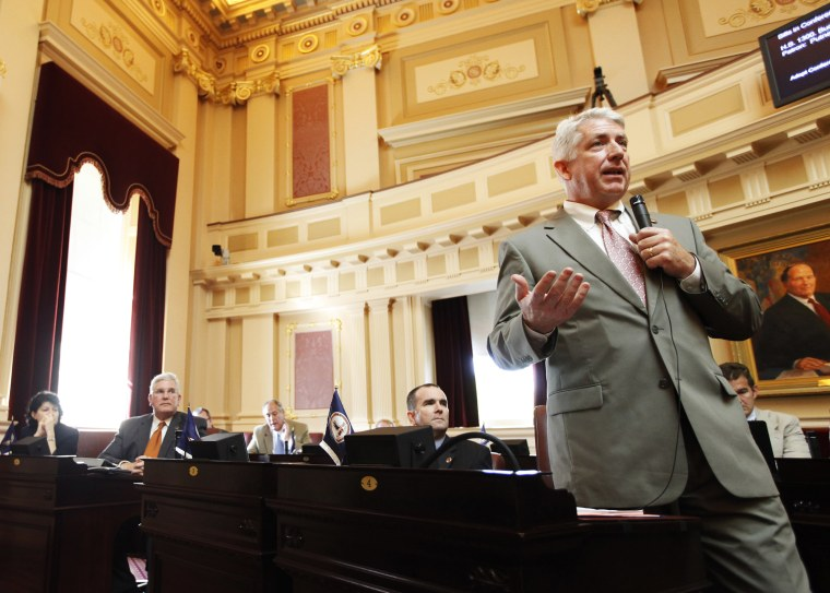 Mark Herring gestures during debate at the Capitol in Richmond, Va., April 17, 2012.