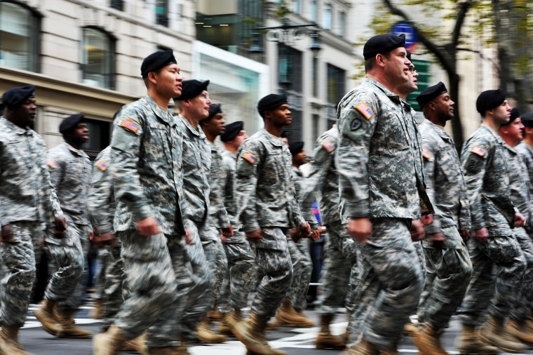 A U.S. Army unit marches during the annual Veterans Day Parade in NYC, Nov. 11, 2013.