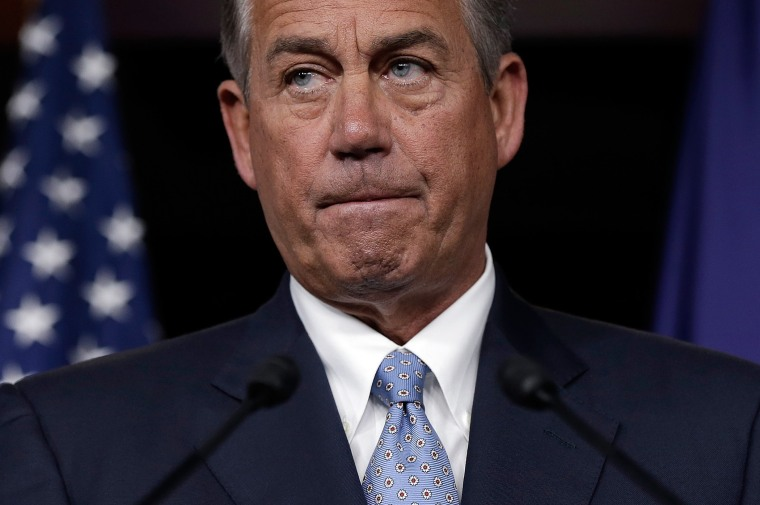 Speaker of the House John Boehner (R-OH) answers questions during a press conference at the U.S. Capitol November 21, 2013 in Washington, D.C.