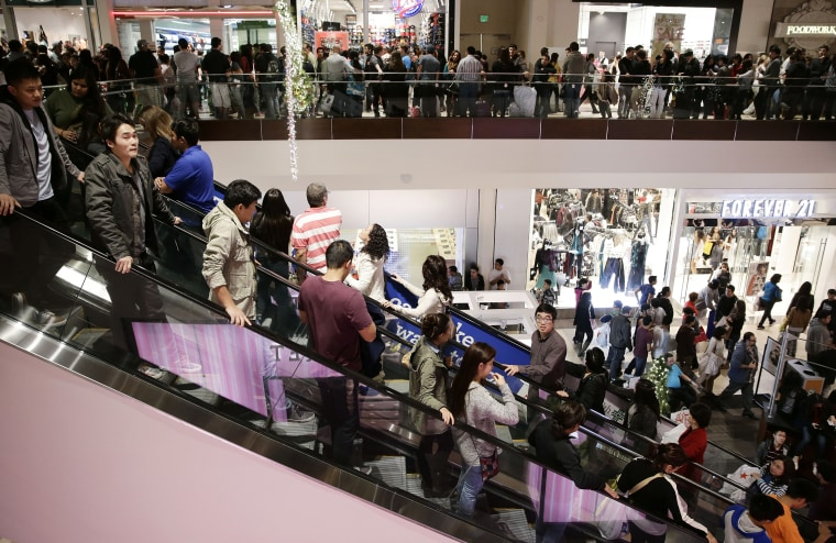 Holiday shoppers at Brea Mall during Black Friday shopping on Nov. 29, 2013, in Brea, Calif.