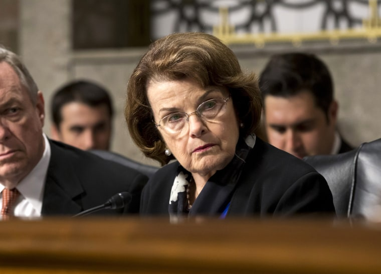 Sen. Dianne Feinstein, D-Calif., listens to testimony from Gen. Keith B. Alexander as he answers questions before the Senate Appropriations Committee on Capitol Hill in Washington, D.C. on June 12, 2013.