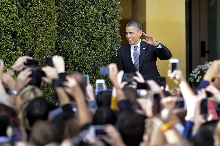 President Barack Obama arrives to speak at the DreamWorks Animation studio on Nov. 26, 2013, in Glendale, Calif.