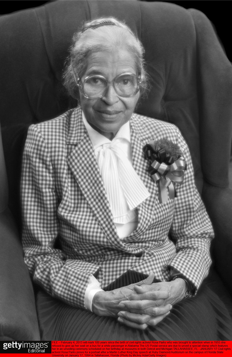 Civil rights activist Rosa Parks poses for a portrait after a Martin Luther King Day speech on January 17, 1994 in Tallahassee, Florida.