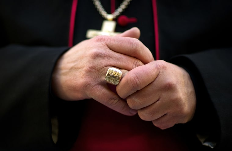 A close-up view of a Catholic bishop's hands on January 23, 2013.