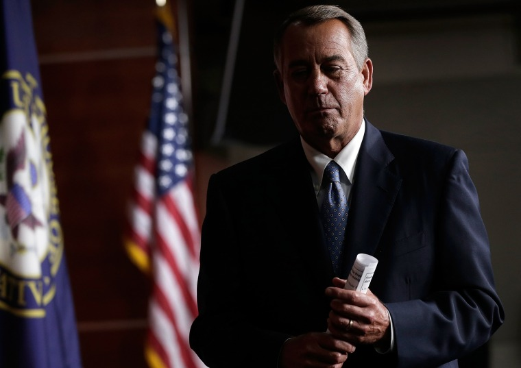 Speaker of the House John Boehner (R-OH) leaves a press conference at the U.S. Capitol November 21, 2013 in Washington, D.C.
