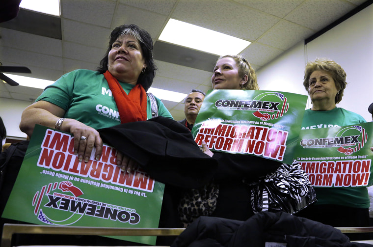 Supporters of granting illegal immigrants drivers licenses rally at the Illinois State Capitol, Jan. 7, 2013.