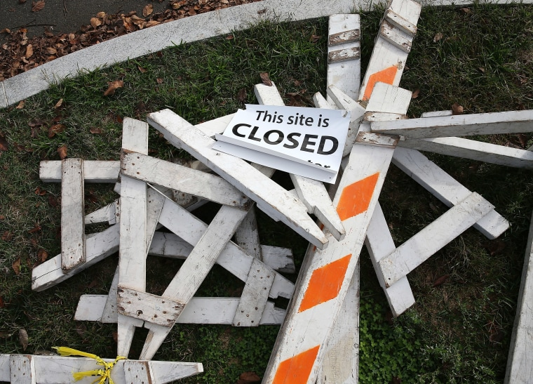 Barricades that were used to close the Martin Luther King Memorial during the government shutdown in Washington, Oct 17, 2013.