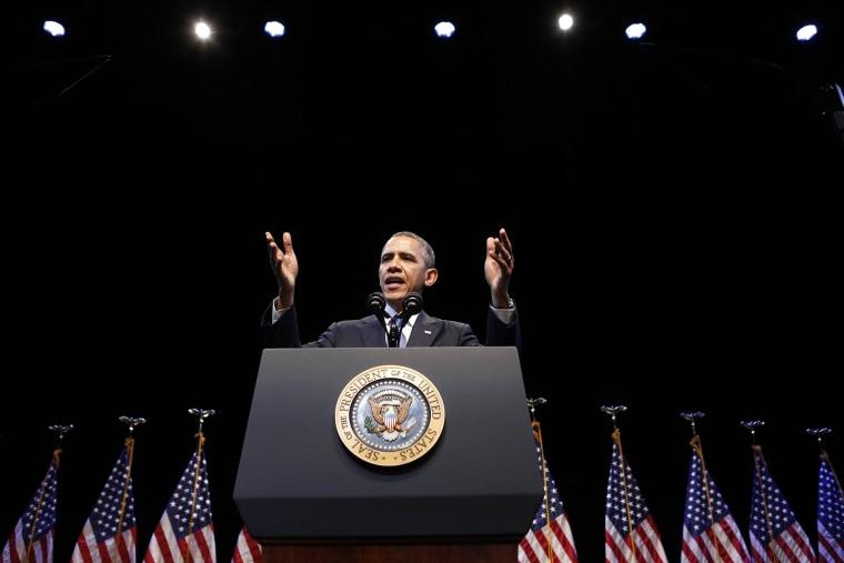 U.S. President Barack Obama speaks about the economy in Washington Dec, 4, 2013.