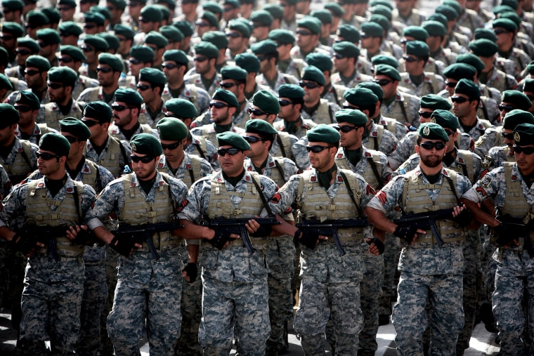 Iranian army's special forces march during the Army Day parade in Tehran, April 18, 2013.