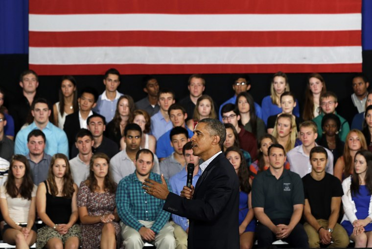 President Barack Obama speaks about affordable college education during a town hall meeting at Binghamton University on Aug. 23, 2013, in Vestal, N.Y.