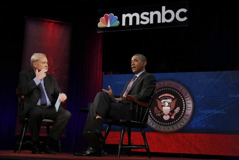 President Obama is interviewed by Chris Matthews at American University in Washington DC., Dec. 5, 2013.