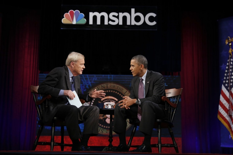 President Obama is interviewed by Chris Matthews for his show 'Hardball' on MSNBC at American University in Washington DC.