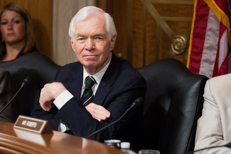 Senator Thad Cochran (R-MS) listens during a hearing examining foreign purchases on Capitol Hill in Washington on July 10, 2013.