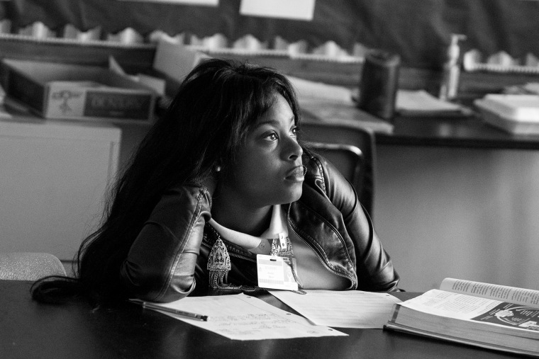 A student at Normandy High School listens intently during classroom instruction. After a court ruling this summer that allowed students of the unaccredited Normandy School District to transfer to accredited districts, 25% of Normandy's students transferre