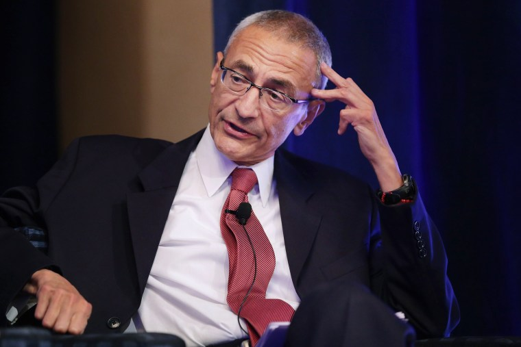 John Podesta moderates a panel discussion at the St. Regis Hotel in Washington, DC., Oct. 24, 2013.