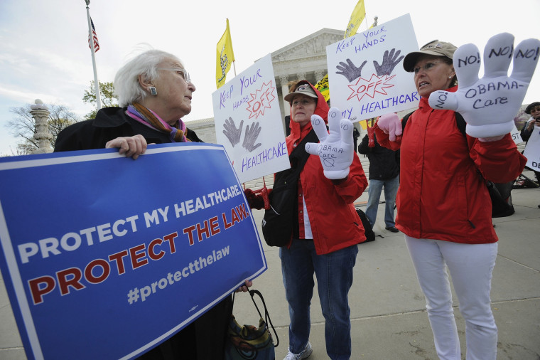 ""\""""Obamacare""""  supporter Margot Smith (L) of California pleads her case with legislation opponents Judy Burel (2nd R) and Janis Haddon, both of Georgia, at the U.S. Supreme Court in Washington, March 28, 2012.""760|506|?|en|2|6885815d0d065e1d920f4d4e3de70839|False|UNLIKELY|0.28620684146881104