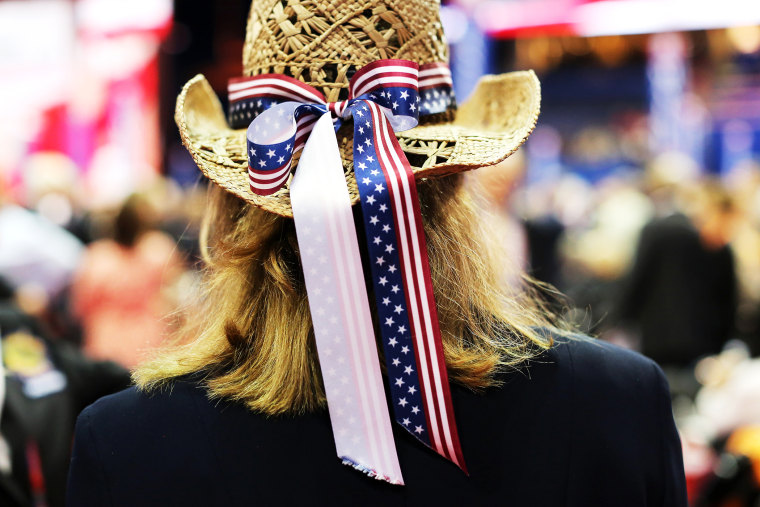 A woman wears a cowboy hat during the final day of the RNC in Tampa, Fla. Aug. 30, 2012.