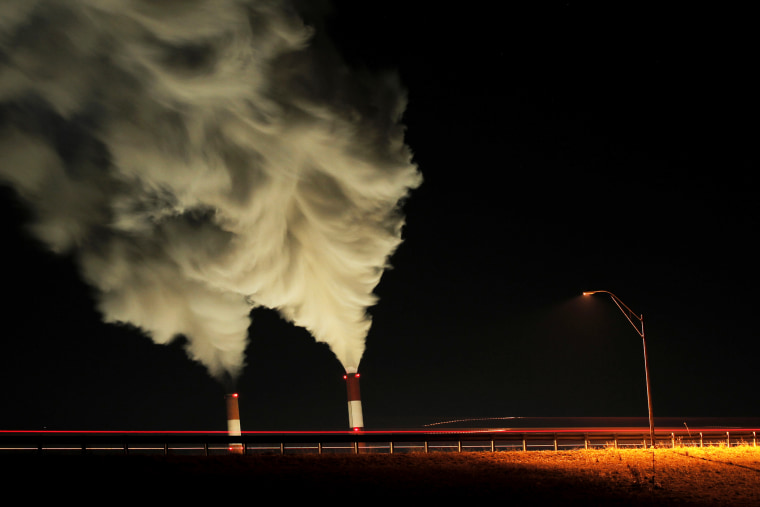 Smokestacks are seen at a coal-fired power plant in La Cygne, Kansas, Jan. 19, 2012.