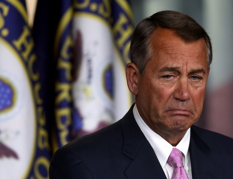 House Speaker John Boehner (R-OH) speaks during his weekly news conference at the U.S. Capitol, November 14, 2013 in Washington D.C.