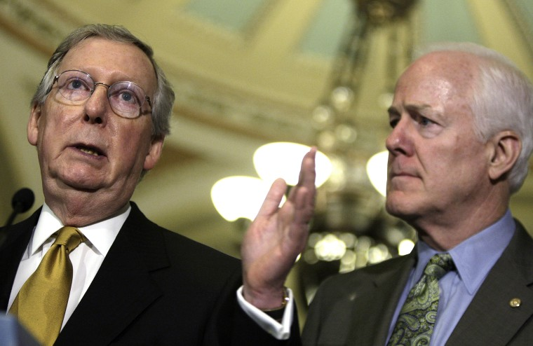 McConnell and Cornyn address reporters at the U.S. Capitol in Washington