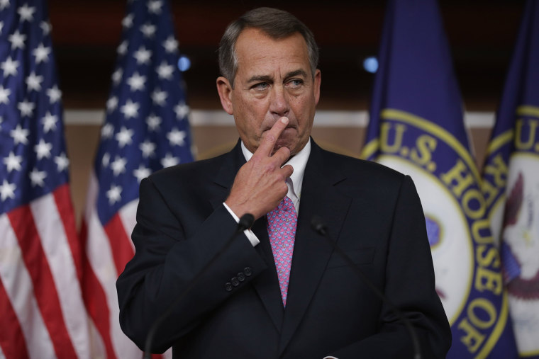 """When asked at his weekly news conference in the Capitol Visitors Center at the U.S. Capitol, December 5, 2013, about the Republican Party's running against women, Republican House Speaker Boehner said, """"Some of our members just are not as sensitive as the"""