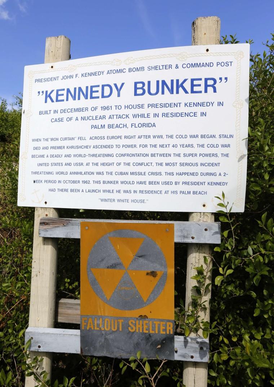 A sign marks a cold-war era nuclear fallout shelter on Peanut Island near Riviera Beach, Florida, November 8, 2013.
