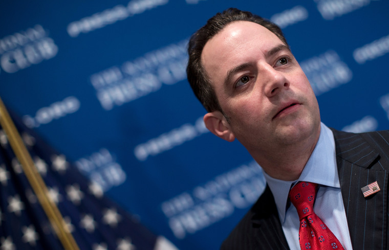 Republican National Committee Chairman Reince Priebus talks with members of the press after speaking at the National Press Club March 18, 2013 in Washington, DC.