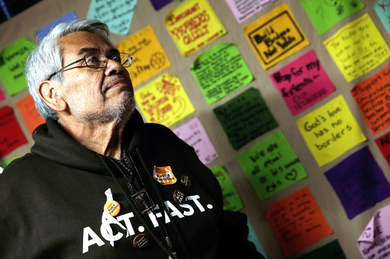 Eliseo Medina, who is fasting in support of immigration reform with the Fast for Families movement, speaks during a press conference, Nov. 26, 2013 in Washington, DC.